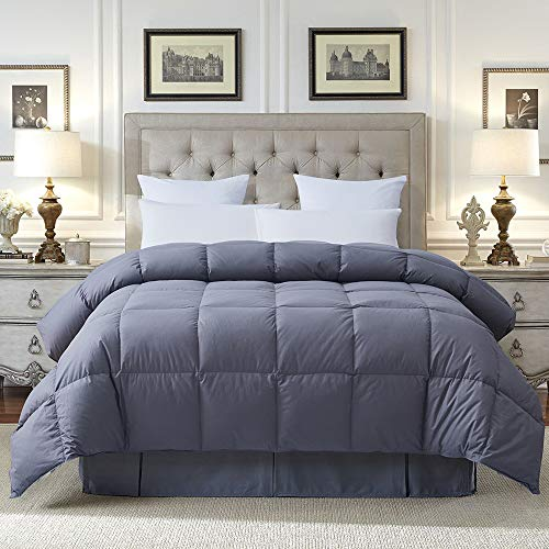 COSYBAY 100% Cotton Quilted Down Comforter Grey Goose Duck Down and Feather Filling - All Season Duvet Insert or Stand-Alone - Queen Size(90×90 Inch)