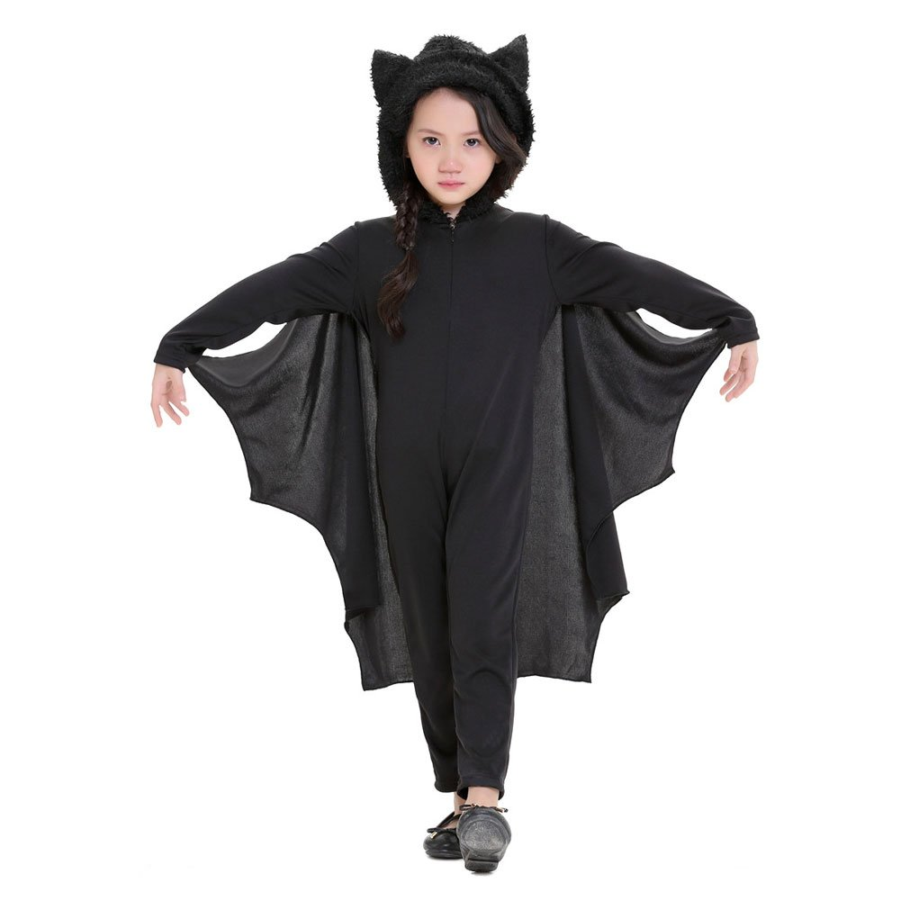Kids Unisex Halloween Bat Cosplay Jumpsuit Outfit Hodded Costume for Boys and Girls,115cm-130cm