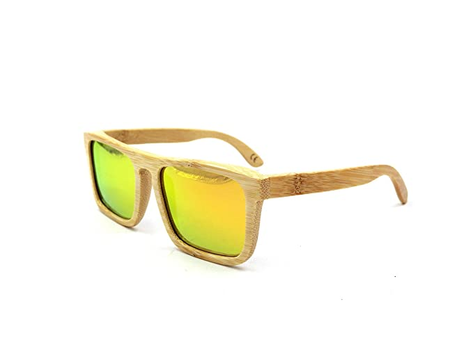 Gafas de sol de madera hecho a mano 100% de bambú polarizada lente naranja