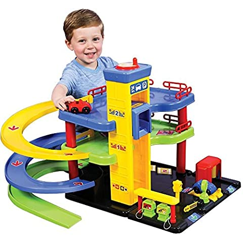CP Toys Pretend Play Park & Play Service Garage with Three Levels and 2 Cars - Toy Parking Garage Elevator