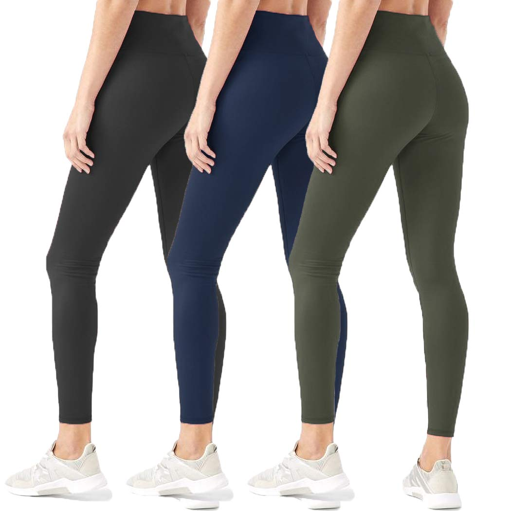 HIGHDAYS Leggings for Women High Waisted Tummy Control Opaque Slim Soft Pants for Cycling, Yoga, Running (Plus Size, 3 Pairs (Black+Navy Blue+Olive)) by HIGHDAYS
