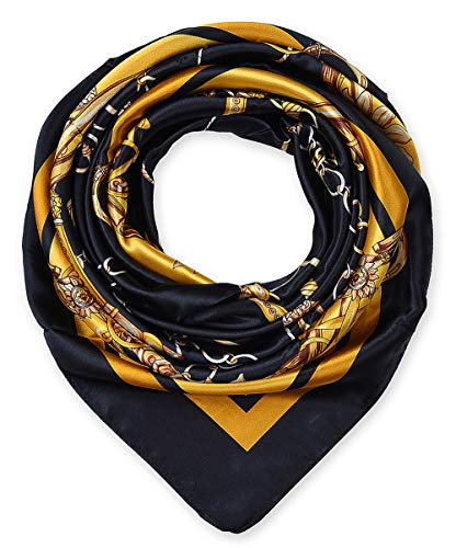 Hermes Accessories - Large Square Satin Silk Like Lightweight Scarfs Hair Sleeping Wraps for Women Black Chains Pattern