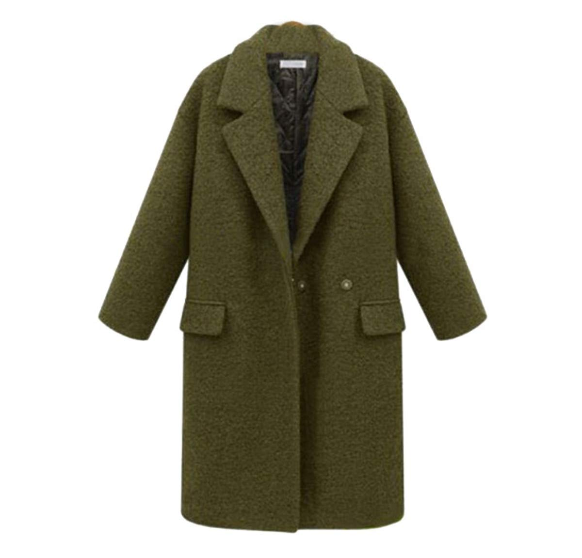 Womens Winter Thickened Wool Trench Down Long Coat Outdoor Lightweight Faux Fur Trimmed Collar Oversized Coat (Army Green, 4XL) by Aurorax