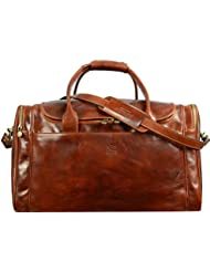 Brown Leather Duffel Bag , Leather Weekend bag, Large Travel Bag - Time Resistance