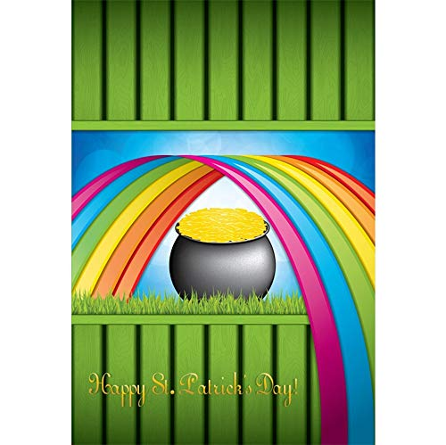 Laeacco Vinyl 6.5x10ft Cartoon Happy St.Patrick's Day Background Pot of Gold Coins Rainbow Grassland Green Vertical Stripes Plank Illustration Backdrops Irish Festival Greeting Card Photo Studio