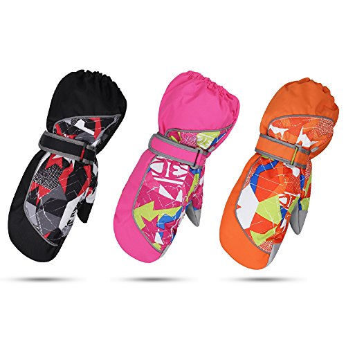 DEKINMAX Ski Gloves for Youngsters, Children Ski Gloves Water Resistant Sports Gloves with Anti-Slip PU Palm for Youth Children Snowboard Skiing Skating Fishing – DiZiSports Store