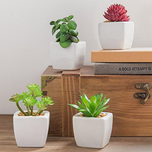 Set of 4 Small Modern Cube-Shaped White Ceramic Planter Pots with Artificial Succulent Plants - MyGift by MyGift (Image #1)