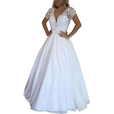 ABaowedding Women\'s V-Neck Short Sleeves Floral Lace Ball Gowns Long ...