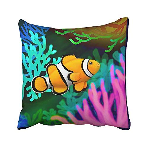 (JUNU Zippered Pillow Covers Pillowcases 18X18 Inch Fish percula Clown Anemone Fish Decorative Throw Pillow Cover,Pillow Cases Cushion Cover for Home Sofa Bedding)