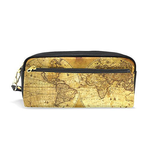 Map Antique Leather - Pencil Case,Cicily Vintage World Map Antique Watercolor PU Leather Durable Pencil Pen holder Pouch Stationery bag Coin Purse Cosmetic Makeup bag Small