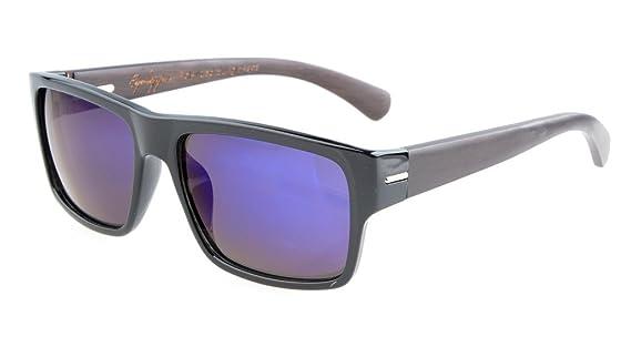 Eyekepper Qualität Frühlings-Scharnier Holz Tempel polarisierten Sonnenbrillen Stripe/Grau Lens fBW31W0e9h