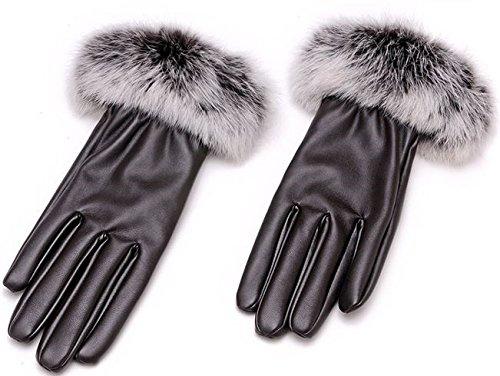 ショルダー精算どうやって【Tlove】 エレガントスタイル ファー付き レザー風 手袋 ダークブラウン 【並行輸入品】
