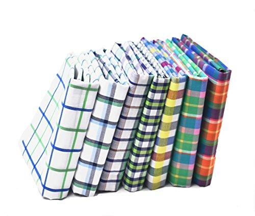RayLineDo 7X Different Green Plaid Yarn Dyed Pure Cotton Fabric Fat Quarter Bundle 46 x 56cm ( Appox 18