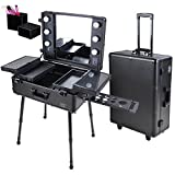 Triprel Inc Professional Rolling Studio Makeup Artist Cosmetic w/ Light Mirror Train Case - Black