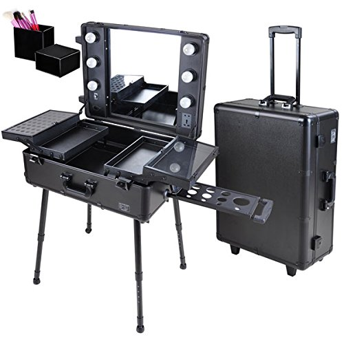 Triprel Inc Professional Rolling Studio Makeup Artist Cosmetic w/ Light Mirror Train Case - Black by Triprel Inc