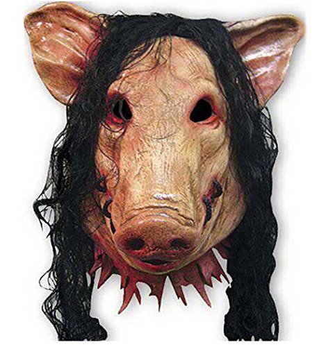 Adult Deluxe Pig Mask (Dragon Honor Halloween Masks Pig Head Mask+Hair Scary Animal Saw Mask Masquerade Prop Latex Party Cosplay Halloween Christmas)