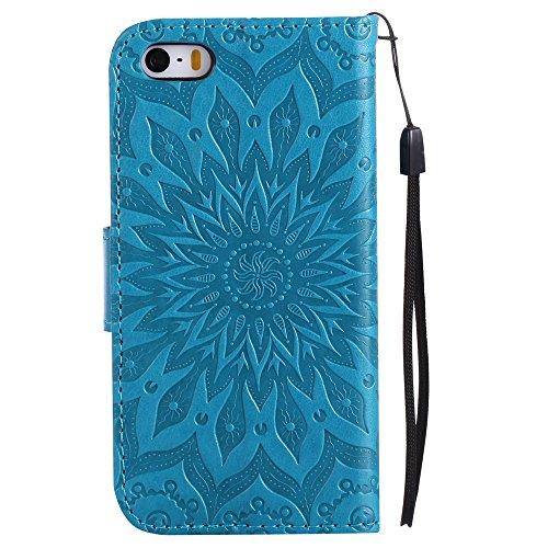 Porte Fermeture Aimant Coque iPhone Housse Rabat avec Cuir Lomogo Portefeuille 5S par 5 en Carte PfzwwqC