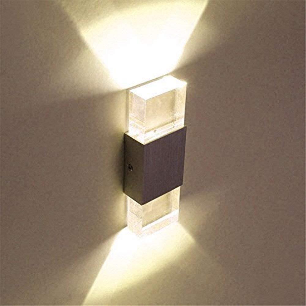 Lightess 6W Led wandleuchten innen Doppel Acryl-Kristall LED-Aluminium-Wandlampe moderne minimalistische Wandleuchte,kaltes Wei/ß