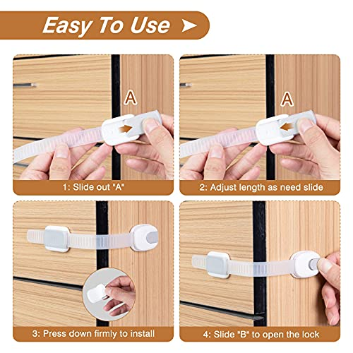 510DajnafXS Mum & Cub Child Safety Strap Locks, 4 Pack Safety Locks for Cabinets, Drawers, Door, Toilet, and Fridge, Strong Adhesive Baby Poof Latch with 4 Pack Outlet Plug Covers    Specifications