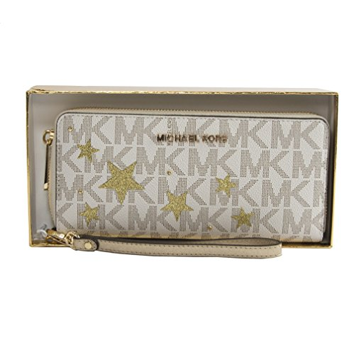 MICHAEL Michael Kors Signature Jet Set Travel Continental Wallet Vanila/Gold by Michael Kors