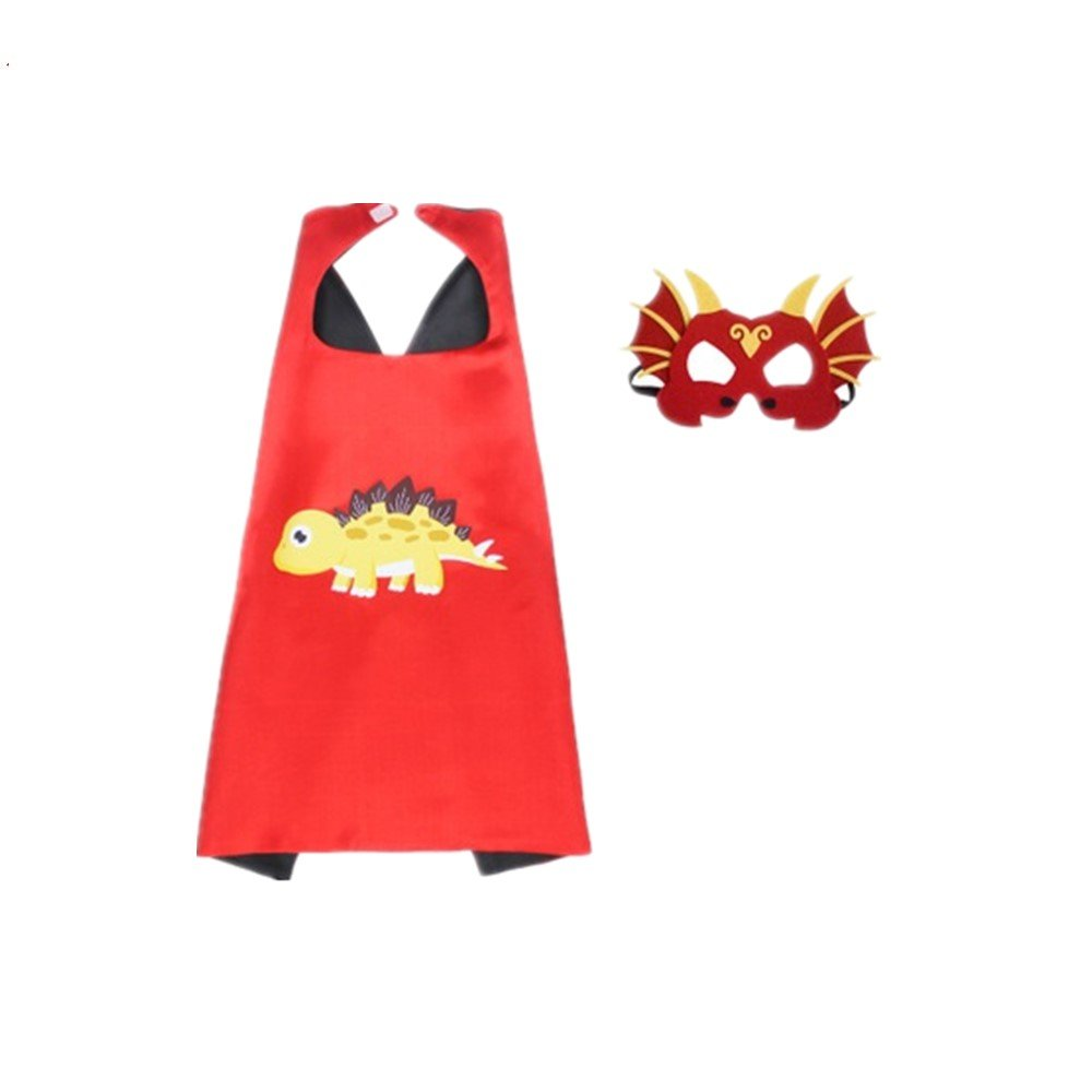 Yuanyistyle Dinosaur Birthday Kids Cape Costume Masks for Party Gifts of Son Girls (Red)