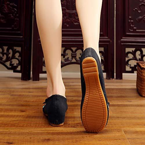 Jane Vieilles Brodées À Beijing Bozevon Colorées Mary Noir Chaussures Femmes Pour AxxYatw0