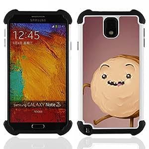 """SAMSUNG Galaxy Note 3 III / N9000 / N9005 - 3 en 1 impreso colorido de Altas Prestaciones PC Funda chaqueta Negro cubierta gel silicona suave (Cake Cookie Monster Dibujo de Brown"""")"""