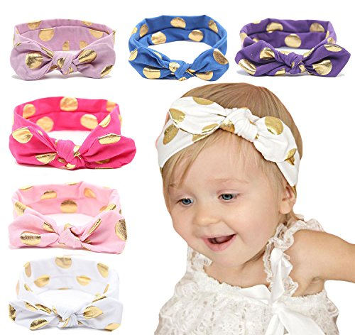 Zando Baby Girls Toddler Kids Cute Turban Headband Head Bows Soft Sweet Hairband Golden Dot/6 Pack (Teen Christmas Dress)