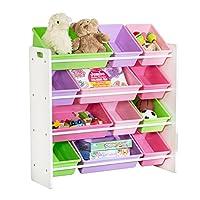 Honey-Can-Do SRT-01603 Kids Toy Organizer y contenedores de almacenamiento, Blanco /Pastel