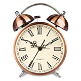 HENSE Non Ticking Bedside Twin Bell Alarm Clock Battery Powered Night-light Loud Alarm Clocks with Bright Copper Color HA41 (4.5'' #Roman Numerals)