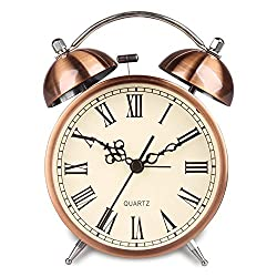 Hersent Twin Bell Alarm Clock Battery Power Night-light Loud Alarm Roman Character Copper Clock Ha41 (4.5Roman character)
