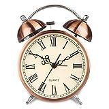 Hersent Twin Bell Alarm Clock Battery Power Night-light Loud Alarm Roman Character Copper Clock Ha41 (4.5''Roman character)