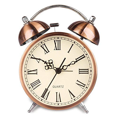 m Clock Battery Power Night-light Loud Alarm Roman Character Copper Clock Ha41 (4.5