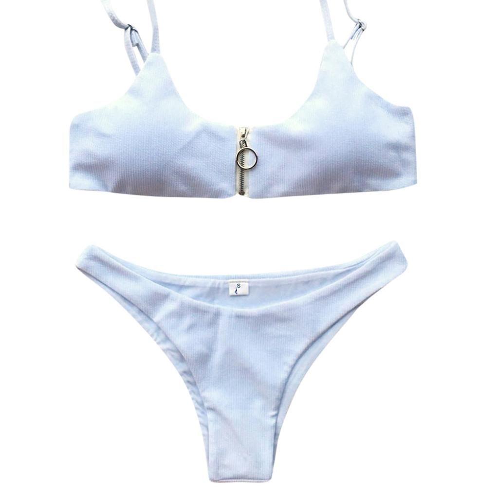 OHQ Traje De BañO Bikini Color Slit Plaid Magenta Azul Claro Rosa ...
