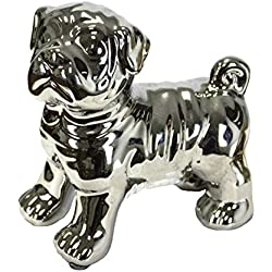 Sagebrook Home 10783 Ceramic Pug Dog Figurine, Silver Ceramic, 4.5 x 3 x 5 Inches