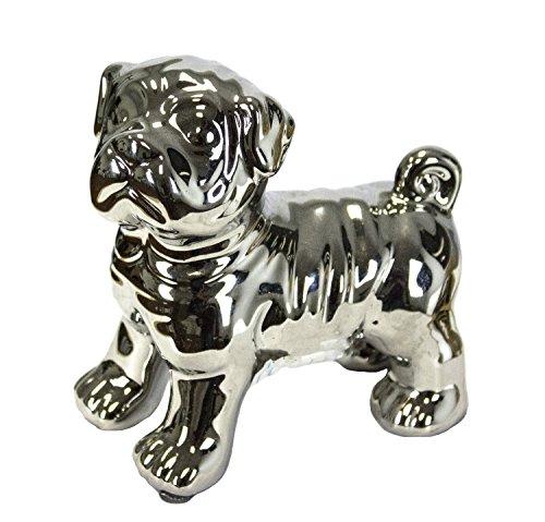 Sagebrook-Home-10783-Ceramic-Pug-Dog-Figurine-45-x-3-x-5-Silver