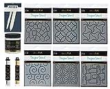 iCraft Deco Foil Designer Stencil Bundle, 6 Stencils, Transfer Gel, Pixiss Bone Folder and Palette Knife, Deco Foil Transfer Sheets Gold and Silver