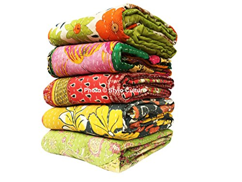 (Stylo Culture Indian Vintage Indian Kantha Quilts Wholesale Twin Printed Kantha Bengali Gudri Throw Vintage Baby Quilts Blankets Vintage Ralli Gudri lot of 5 Pc)