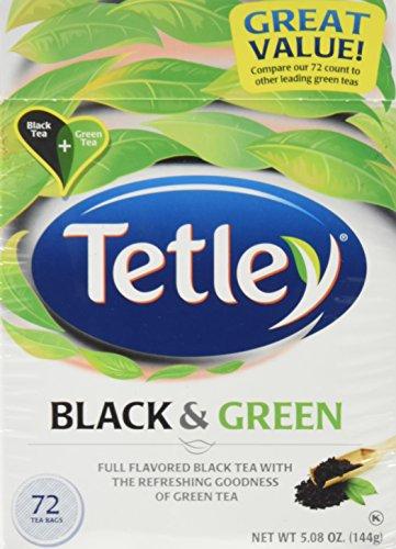 Tetley, Black & Green Tea Bags, 72 Count, 5.08oz Box (Pack of 3)