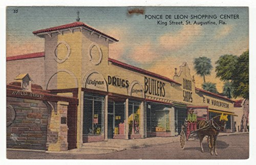 Ponce de Leon Shopping Centre, St. Augistine, Florida Vintage Original Postcard #2770 - Early - Mall Florida Shopping
