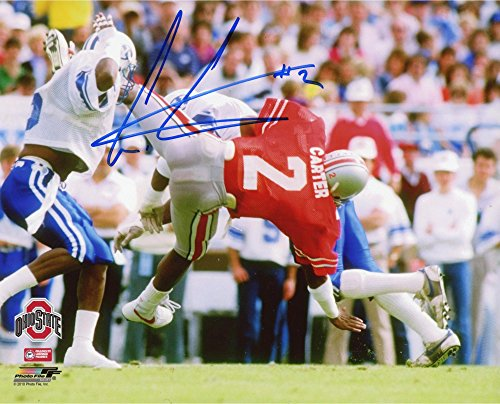 Cris Carter Ohio State Buckeyes Autographed 8'' x 10'' vs. BYU Cougars Falling Photograph - Fanatics Authentic Certified (Cris Carter Photograph)
