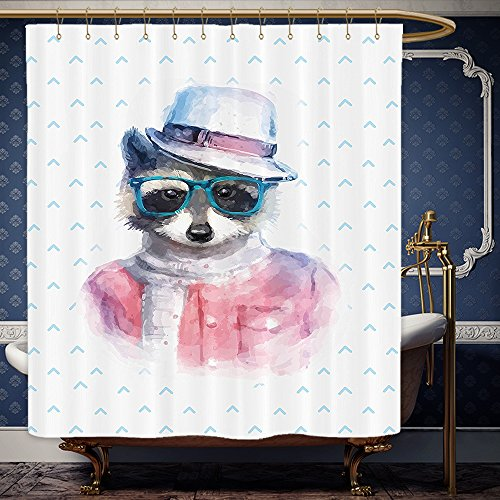 Wanranhome Custom-made shower curtain FunnyRetro Hipster Funky Raccoon with Sunglasses Hat Pullover Portrait Animal Humor Theme Pink Blue For Bathroom Decoration 54 x 78 - Sunglasses Inside Meme