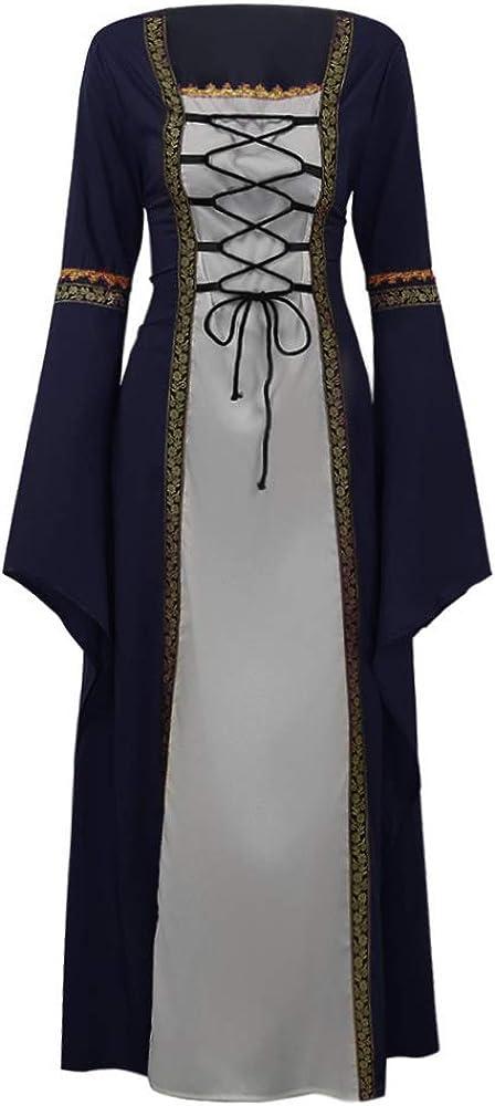 Leader-cloth Vestido gótico Vintage de Mujer con Cordones Medieval ...