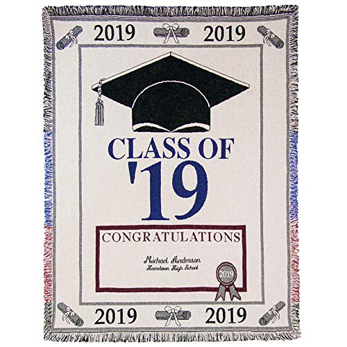 A PLUS MARKETING Personalized 2019 Graduation Tapestry Throw Blanket - 100% Cotton 60