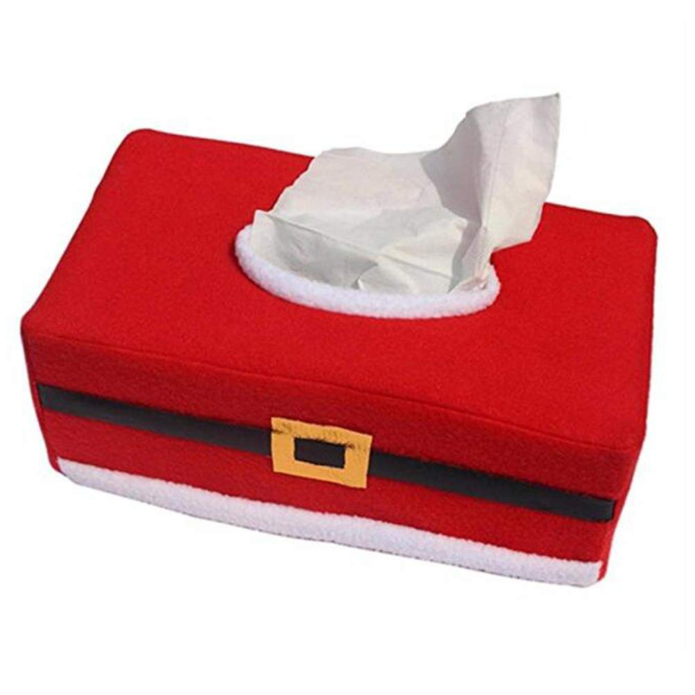 YaptheS 25.5X14X9.5CM Tissue Box Cover Flannelette Christmas Rectangle Tissue Box Set Red