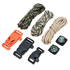 New Paracord 3Pcs 10FT 7 Strand Parachute Cord with Flint Stone Whistle Buckle Mini Compass DIY Travel Kits
