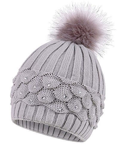 - Arctic Paw Women's Cable Knit Beanie with Sequins and Faux Fur Pompom, Charcoal