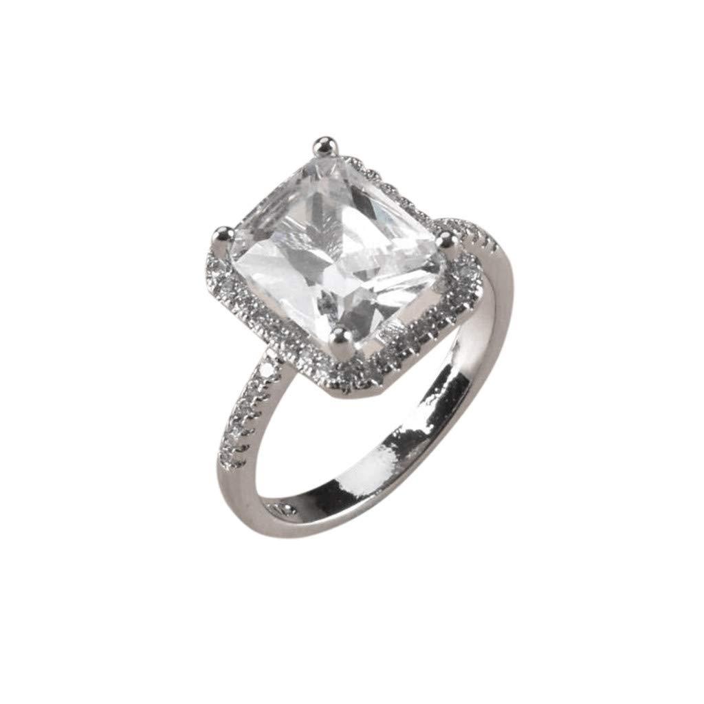 WaiiMak Womens Zircon Ring Full Diamond Wedding Valentines Day 6, Silver