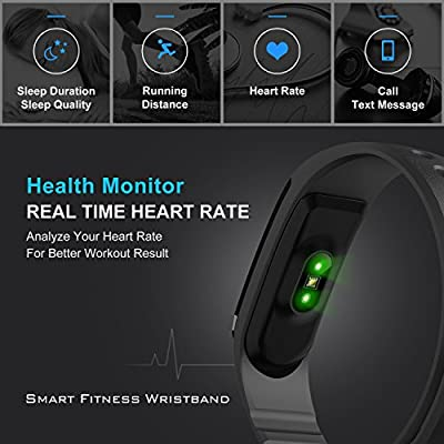 Heart Rate Smart Fitness Band Activity Tracker Bracelet Wristband HR Pedometer Wireless Bluetooth 4.0 Steps Distance Sleep Calorie Swipe Touch Screen Call Message Reminder, iOS Android App Black