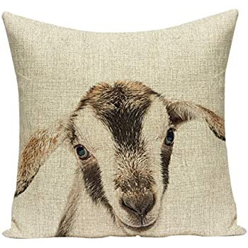 Acelive 16 x 16 Inches Cute Little Animal Cotton Linen Square Decorative Throw Pillow Case Cushion Cover for Sofa Holiday Decorative (Goat)